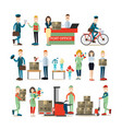 delivery people flat icon set vector image vector image