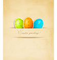Easter retro background with eggs vector image