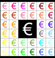 euro sign felt-pen 33 colorful icons at vector image vector image