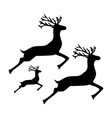 Family of reindeer jumping and running on a white vector image vector image