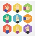 flat Hands Icons Set vector image vector image