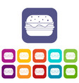 hamburger icons set flat vector image vector image