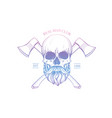 hand drawn sketch skull with hammer vector image vector image