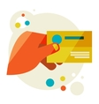 Hand holding business card vector image vector image