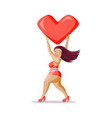 happy girl with heart vector image vector image