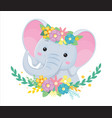head grey elephant in flowers children vector image vector image