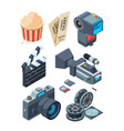 isometric video cameras tools for video vector image