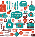Kitchen set icons vector image