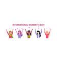 mix race women group raising hands international vector image vector image