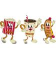 nostalgic hotdog soda pop popcorn vector image vector image
