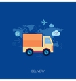 Online shopping and purchase delivery Lorry or vector image