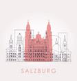 outline salzburg skyline with landmarks vector image vector image