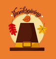 pilgrim hat and handwritten text thanksgiving vector image