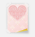 pink valentines day poster with a heart and birds vector image