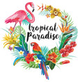 round border with tropical flowers and birds vector image vector image