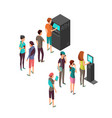 row waiting people at atm payment machine and vector image vector image