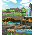 scene with animals at open zoo vector image vector image