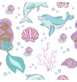 sea mermaid princess seamless pattern vector image vector image