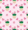 Seamless pattern with cactus vector image vector image