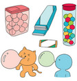 set of bubble gum vector image