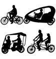 set silhouette of two athletes on tandem bicycle vector image vector image