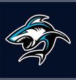 shark logo badge for sport esport game vector image vector image