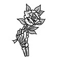 skeleton hand holding beautiful rose vector image vector image