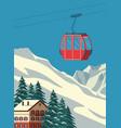 ski resort with red gondola lift chalet winter vector image vector image