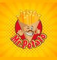 smiled box full with french fries vector image