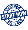 start now blue round grunge stamp vector image vector image