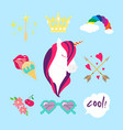 unicorn flat color icon isolated style set vector image vector image