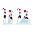 woman doing exercises yoga routine steps vector image