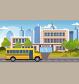 yellow bus on road in front of school building vector image