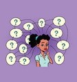 african woman solves the problem questions and vector image