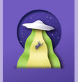 alien ufo abduction at night paper cut concept vector image