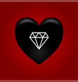 black heart with diamond vector image vector image