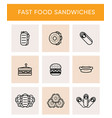 black line icons of different sandwiches vector image vector image