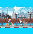 boy walking dog in town vector image vector image
