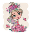 cartoon fairy girl with flowers on a pink vector image vector image