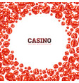 casino with floating dices on white vector image vector image