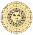 circle zodiac signs with hand drawn sun vector image vector image