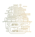 Cityscape and city life - line design composition vector image vector image