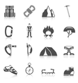 Climber gear equipment icons black vector image vector image