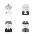 doctor judge business policeprofession set vector image vector image