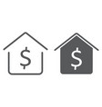 dollar house line and glyph icon real estate vector image vector image