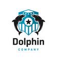 dolphin shield logo design template vector image