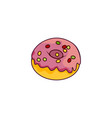 donut with glaze icing sprinkles isolated vector image vector image