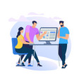 girl sitting at computer monitor and listening men vector image vector image