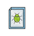 grated spider insect to danger symbol inside paper vector image vector image