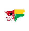 guinea-bissau map and flag vector image vector image